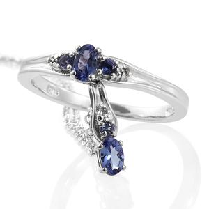 Premium AAA Tanzanite, Cambodian Zircon Platinum Over Sterling Silver Ring (Size 5) and Pendant With Chain (20 in) TGW 0.61 cts.