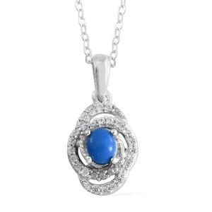 Ceruleite, Cambodian Zircon Platinum Over Sterling Silver Pendant With Chain (20 in) TGW 0.56 cts.