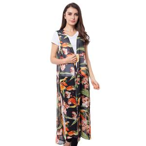 Black 100% Polyester Flower Pattern Long Shape Vest (46x21 in)
