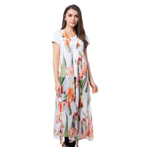 White 100% Polyester Flower Pattern Long Shape Vest (21x46 in)