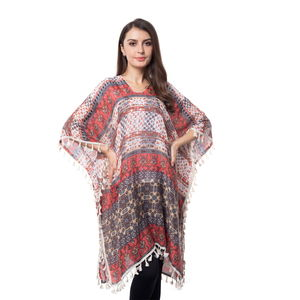 Coral and Beige 100% Polyester V-Neck Floral Tribal Printed Poncho with Tassels (One Size)