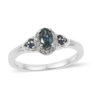 Montana Sapphire, Multi Gemstone Platinum Over Sterling Silver Ring (Size 8.0) TGW 0.93 cts.