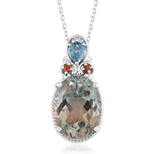 Aqua Terra Costa Quartz, Multi Gemstone Platinum Over Sterling Silver Pendant With Chain (20 in) TGW 10.52 cts.