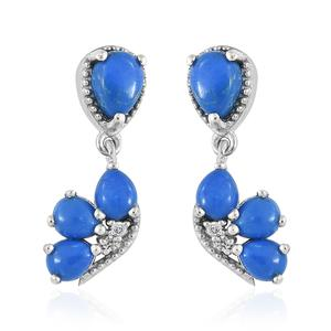 Ceruleite, Cambodian Zircon Platinum Over Sterling Silver Earrings TGW 2.88 cts.