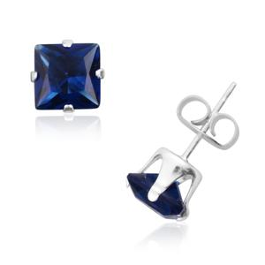 Simulated Blue Diamond Sterling Silver Stud Earrings TGW 1.30 cts.