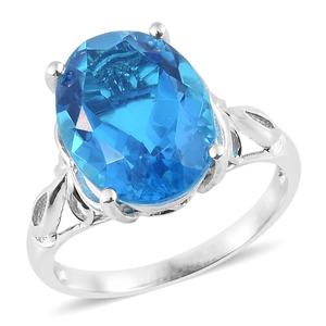 Caribbean Quartz Platinum Over Sterling Silver Solitaire Ring (Size 7.0) TGW 9.85 cts.
