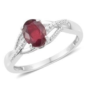Niassa Ruby Platinum Over Sterling Silver Ring (Size 5.0) TGW 1.65 cts.