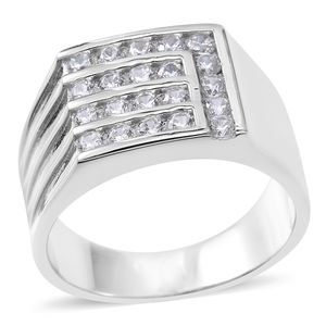 Simulated Diamond Sterling Silver Men's Ring (Size 12.0) TGW 0.84 cts.