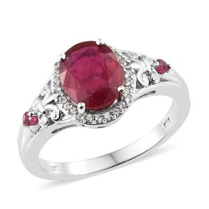 Niassa Ruby, Cambodian Zircon Platinum Over Sterling Silver Ring (Size 9.0) TGW 3.76 cts.