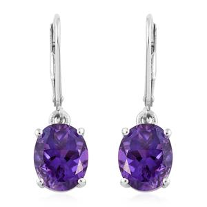 Moroccan Amethyst Platinum Over Sterling Silver Lever Back Earrings TGW 5.10 cts.
