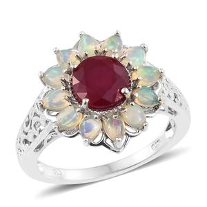 Niassa Ruby, Ethiopian Opal Platinum Over Sterling Silver Ring (Size 10.0) TGW 4.24 cts.