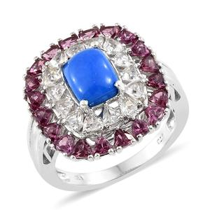 Ceruleite, Multi Gemstone Platinum Over Sterling Silver Ring (Size 7.0) TGW 6.00 cts.