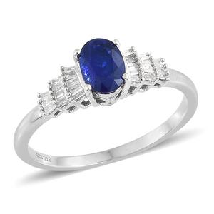 Nitin's Knockdown Deals Blue Spinel, Diamond Platinum Over Sterling Silver Ring (Size 7.0) TDiaWt 0.15 cts, TGW 1.05 cts.