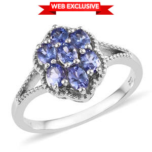 Premium AAA Tanzanite Platinum Over Sterling Silver Flower Ring (Size 5.0) TGW 1.05 cts.