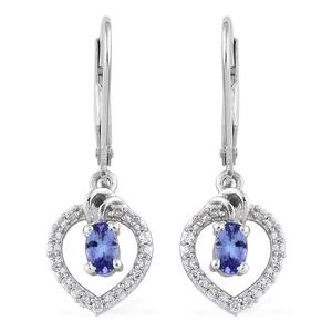 Premium AAA Tanzanite, Cambodian Zircon Platinum Over Sterling Silver Lever Back Earrings TGW 0.82 cts.