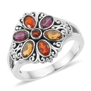Artisan Crafted Multi Gemstone Sterling Silver Ring (Size 5.0) TGW 1.66 cts.