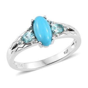 Arizona Sleeping Beauty Turquoise, Madagascar Paraiba Apatite Platinum Over Sterling Silver Ring (Size 10.0) TGW 1.60 cts.