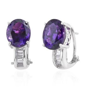 Moroccan Amethyst, White Topaz Platinum Over Sterling Silver Omega Clip Earrings TGW 7.51 cts.