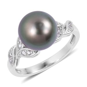 Tahitian Pearl (10-11 mm) Ring in Sterling Silver 0.30 cttw (Size 10.0)