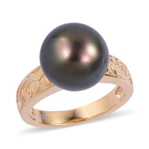 Tahitian Pearl (11-12 mm) 14K YG Over Sterling Silver Solitaire Ring (Size 7.0)
