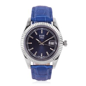 EON 1962 Swiss Movement Water Resistant Watch with Blue Genuine Leather Band and Stainless Steel Back