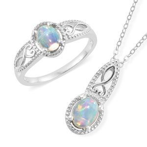 Customer Appreciation DOORBUSTER Ethiopian Welo Opal Platinum Over Sterling Silver Ring (Size 9) and Pendant With Chain (20 in) TGW 1.56 cts.