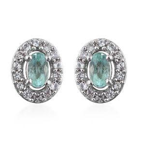 Boyaca Colombian Emerald, Cambodian Zircon Platinum Over Sterling Silver Earrings TGW 0.79 cts.