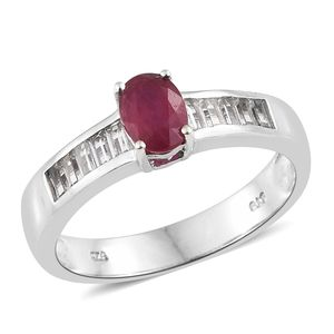 July 4th DOORBUSTER Niassa Ruby, White Topaz Platinum Over Sterling Silver Ring (Size 6.0) TGW 1.75 cts.