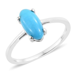 Arizona Sleeping Beauty Turquoise Platinum Over Sterling Silver Solitaire Ring (Size 10.0) TGW 2.00 cts.
