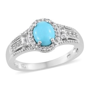 Arizona Sleeping Beauty Turquoise, White Topaz Platinum Over Sterling Silver Halo Ring (Size 10.0) TGW 1.76 cts.