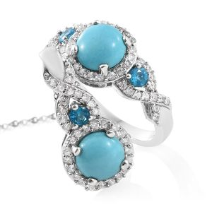 Arizona Sleeping Beauty Turquoise, Multi Gemstone Platinum Over Sterling Silver Ring (Size 9) and Pendant With Chain (20 in) TGW 5.21 cts.