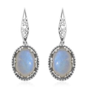 Artisan Crafted Rainbow Moonstone Sterling Silver Earrings TGW 14.35 cts.