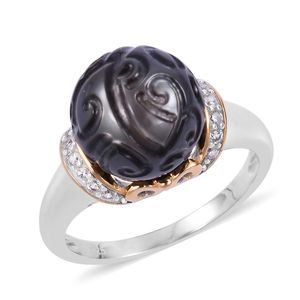 Tahitian Pearl (11.5-12 mm), White Zircon 14K YG Over and Sterling Silver Ring (Size 8.0) TGW 0.33 cts.