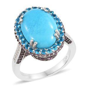 Arizona Sleeping Beauty Turquoise, Multi Gemstone Platinum Over Sterling Silver Ring (Size 5.0) TGW 12.08 cts.