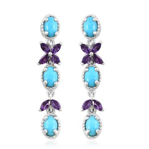 Arizona Sleeping Beauty Turquoise, Amethyst Platinum Over Sterling Silver Butterfly Drop Dangle Earrings TGW 3.49 cts.