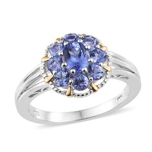 Premium AAA Tanzanite Vermeil YG and Platinum Over Sterling Silver Flower Ring (Size 7.0) TGW 1.85 cts.