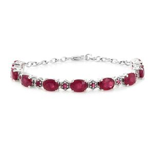 Niassa Ruby Platinum Over Sterling Silver Bracelet (7.25 In) TGW 16.84 cts.
