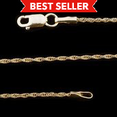 14K YG Over Sterling Silver Rope Chain (16 in,1.5g)