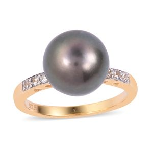 Tahitian Pearl (11-12 mm), White Zircon Platinum and 14K YG Over Sterling Silver Ring (Size 10.0) 0 TGW 0.30 cts.