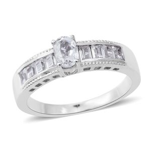 Natural White Zircon Sterling Silver Ring (Size 7.0) TGW 1.63 cts.