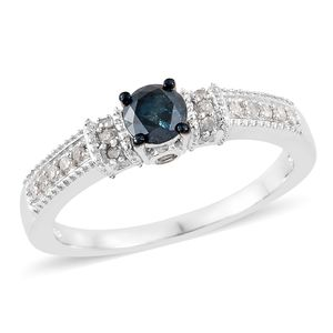 Blue Diamond (IR), Diamond Platinum Over Sterling Silver Ring (Size 10.0) TDiaWt 0.75 cts, TGW 0.75 cts.