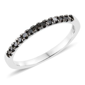 Black Diamond (IR) Platinum Over Sterling Silver Ring (Size 7.0) TDiaWt 0.35 cts, TGW 0.35 cts.