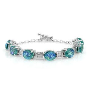 Peacock Quartz, White Topaz Platinum Over Sterling Silver Toggle Clasp Bracelet (7.25 In) TGW 24.72 cts.