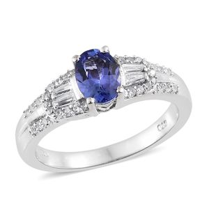 Premium AAA Tanzanite, Cambodian Zircon Platinum Over Sterling Silver Ring (Size 7.0) TGW 1.46 cts.