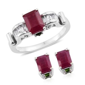 Niassa Ruby, Multi Gemstone Platinum Over Sterling Silver Earrings and Ring (Size 10) TGW 6.35 cts.