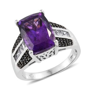 Moroccan Amethyst, Multi Gemstone Platinum Over Sterling Silver Ring (Size 7.0) TGW 8.19 cts.