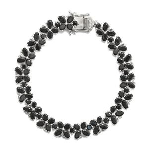 TLV Thai Black Spinel Platinum Over Sterling Silver Bracelet (7.25 In) TGW 23.75 cts.