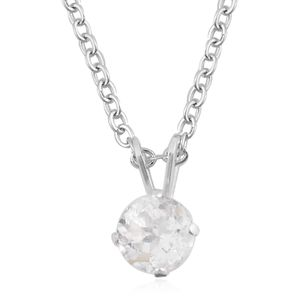 White Topaz Sterling Silver Pendant With Chain (18 in) TGW 1.00 cts.