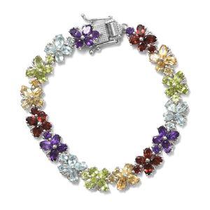 TLV Multi Gemstone Platinum Over Sterling Silver Bracelet (6.50 In) TGW 16.29 cts.