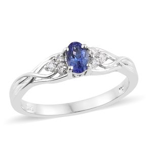 Premium AAA Tanzanite, Cambodian Zircon Platinum Over Sterling Silver Ring (Size 7.0) TGW 0.68 cts.